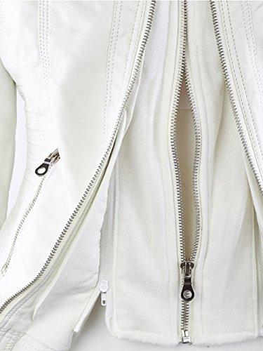 FANTIGO Soprabito invernale classico vintage Biker Giacchetto Giacca in pelle PU con zip e cappuccio Bianco
