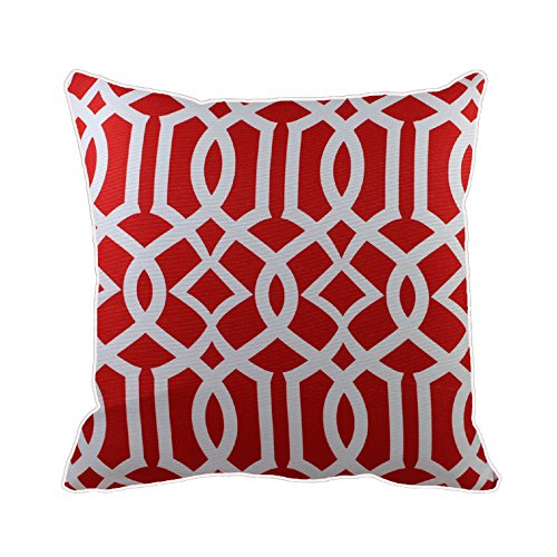 43 x 43 cm, colore: rosso con motivo geometrico, motivo piastrelle in stile marocco, motivo: arabesque, cuscino, cuscino, copri-divano letto decorazione casa cuscino decorativo, idea regalo