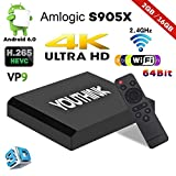 Smart TV Box Android 6.0, RAM 2G+16G ROM, Mini TV Box Amlogic S905X CPU Quad Core, 4K*2K UHD H.265, USB*2, HDMI/RJ45/SPDIF/AV/TF, WiFi Media Player