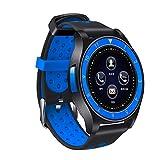 QHJ Smart Watch, Telefon Schrittzähler Sitzende Erinnern Sie Schlafmonitor HD-Kamera (Schwarz + Blau)
