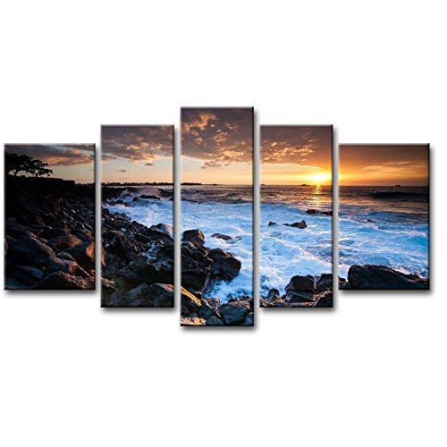 5 Panel Wand-Kunst Malerei Hawaii Coast Sunset Bilder Prints auf Leinwand Seascape das Bild Decor Öl für Home Moderne Dekoration Print (Hawaii-foto-rahmen)
