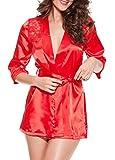 Westeng Lencería kimono Del Cordón Satén Seda Bata Albornoz Camisón Ropa Salto Dormir Cama RojoXL,1Pcs