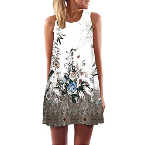 Damen Retro Kleid SUNNSEAN Frauen Rundhals Digital Drucken Sommerkleid Mode Tanktops Partykleider Elegante Strandkleider Schicke Festliche Leibchen Kleider (L, Braun)