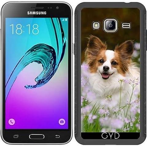 SilikonHülle für Samsung Galaxy J3 2015 (SM-J310) - Papillon Hund Niedlich Porträt by Katho Menden
