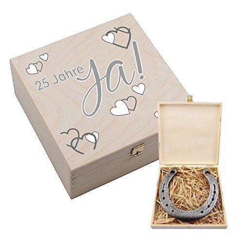 """Hufeisen-Box zur Silberhochzeit mit Motiv """"25 Jahre Ja! – Silberhochzeitsgeschenk – Geschenk zur Silber Hochzeit – 25 Jahre Hochzeitstag Silberhochzeit Geschenkideen Geschenk Deko Silberhochzeitspaar"""