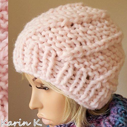 Mütze handgestrickt aus Wolle von Lana Grossa in einem zarten Rosa Umfang: 54 cm -