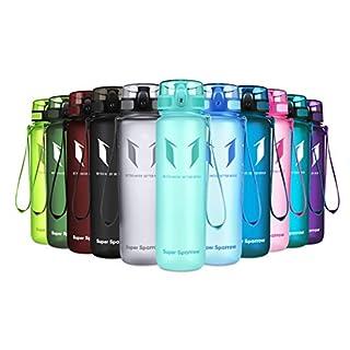 Super Sparrow Trinkflasche - Tritan Wasserflasche - 1000ml - BPA-frei - Ideale Sportflasche - Schnelle Wasserdurchfluss, Flip Top, öffnet Sich mit 1-Click
