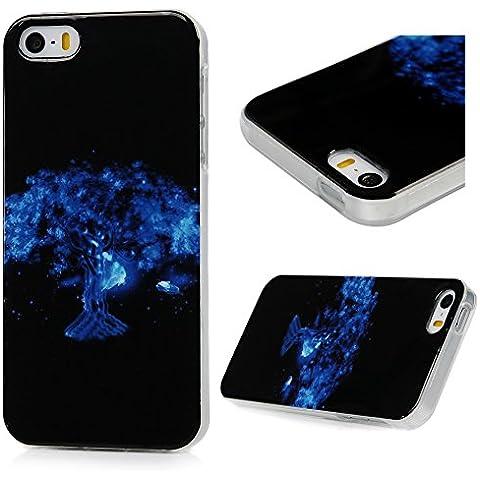 iPhone SE 5 5S Funda Carcasa ,YOKIRIN Funda Cubierta de Suave Silicona de ultra delgado de TPU Carcasa Trasera Para iPhone SE 5 5S - árbol