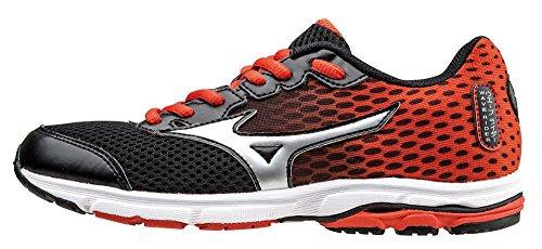 d9c864f615 Mizuno , Chaussures de Running Mixte Enfant - Noir -  Schwarz/Silberfarben/Orange,