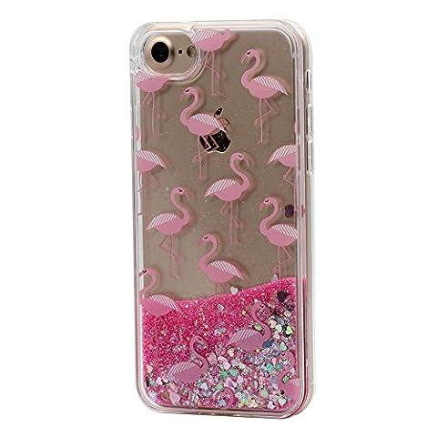 iPhone 6 / 6S Liquide Coque pour Filles, Keyihan Mignonne Style Rose Conception Sables Mouvants Paillettes Plastique dur Housse Étui Avec bord de TPU doux pour Apple iPhone 6 et iPhone 6S (Flamant 1#)