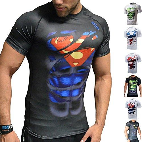 Khroom Hochwertiges Herren Funktionsshirt | Perfekt für Fitness & Gym - Kompressionsshirt im stylischen Helden Design (Superman schwarz, S)