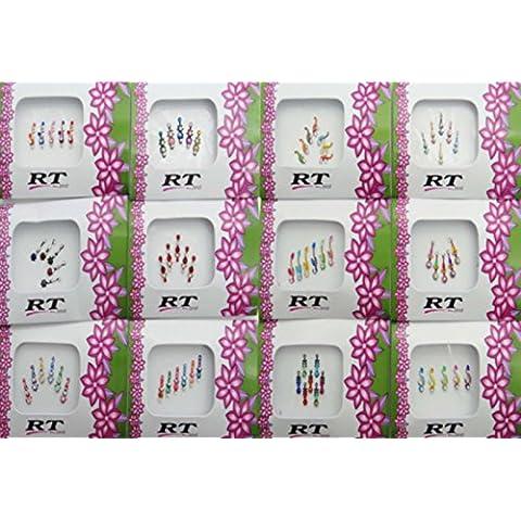 Banithani 12 PC paquetes completos surtidos bindis indios frente diseñador etiqueta tatuaje