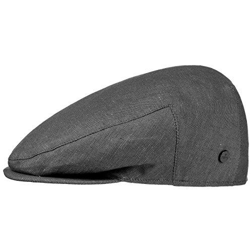 Lierys Inglese Leinen Flatcap Herren | Flat Cap Made in Italy | Schiebermütze aus Leinen und Baumwolle | Sommermütze im Denim-Look | Mütze Frühjahr/Sommer schwarz 59 cm