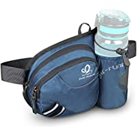 Waist Fanny Pack, WATERFLY Waist Pack with Bottle Holder Water Repellent Bum Bag Dog Walking Waist Bag