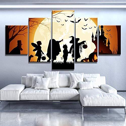 MIYCOLOR 5 Stück Leinwand Kunst Halloween Mond Poster Cuadros Decoracion Gemälde auf Leinwand Wandkunst für Hauptdekorationen Wanddekor Kunstwerk @ 40x60_40x80_40x100 (Decoracion Halloween De)