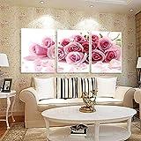 Alkyoneus 3-teilige rahmenlose Leinwand, romantisches Liebesthema, Bilder malen als Wohnzimmerdeko. rose