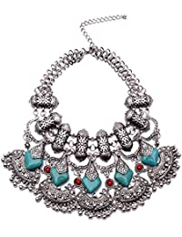Young & Forever Boho Gypsy Collection Silver Plated, Blue And Red Natural Stone Designer Statement Necklace For...