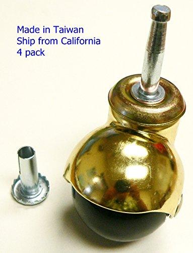 oajen 5,1cm Bright Messing Ball Caster mit PVC Kugel-, Sockel-Stiel, 4Stück