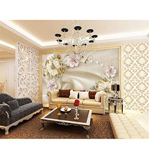 YzybzBenutzerdefinierte Tapete Wohnzimmer Schlafzimmer Tv Sofa Hintergrund Wunderschöne Europäische Schmuckkunst Hintergrund Wand 3D Tapete-380 * 240cm