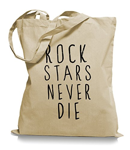 Ma2ca® Rock n Roll Never Die - Jutebeutel Stoffbeutel Tragetasche / Bag WM101 Sand