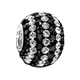 MATERIA Schmuck Beads Strass Anhänger XXL 12x16mm - 925 Silber Kristall Kettenanhänger Kugel schwarz weiß #1083