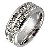 LOUMVE Edelstahlring Mann Breit Cubic Zirconia Silber 8MM Statement Ring Damen mit Gravur Größe 67 (21.3)