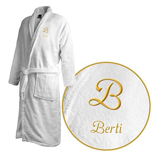Bademantel mit Namen Berti bestickt - Initialien und Name als Monogramm-Stick - Größe wählen White