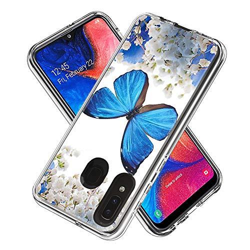Miagon 2 in 1 Hart PC und Weich TPU Innere Durchsichtig Klar Hülle für Samsung Galaxy A20S,Bunt Muster Anti Gelb Stoßfest Handyhülle Schutzhülle Bumper Case,Blau Schmetterling
