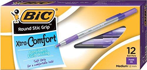 ultra-round-stic-grip-ballpoint-stick-pen-purple-ink-medium-dozen