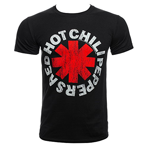 (Red Hot Chili Peppers Distressed Asterisks T Shirt (Schwarz) - Large)