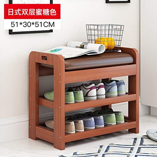 seeksungm Chair, Classical Solid Wood Multifunctional Shoe Bench, Wooden Environmentally Friendly and easy to clean Storage Shoe Chair, Home Shoe rack Sofa Bench, à 50 cm Honey Color