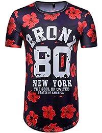T-Shirt à Manches Courtes,Homme d'été de Football 3D Lettre D'Impression T-Shirt Manches Courtes Chemise Haut Tops pour Covermason Homme