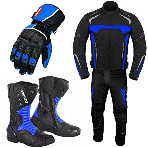 REXTEK Motorradanzug mit Handschuh Motorradschuhe - Motorradstiefel - Rennanzug Gepanzerte 2 Stück Anzug wasserdichte Jacke mit Hosen Handschuhe CE Armor All Wetter Herren- Blau - L