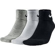 Nike Cushion Quarter Calze - Calzini Uomo, Multicolore (Grigio/Nero/Bianco), L (42/46 EU), confezione da 3 paia