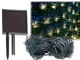 Lunartec LED Außenbeleuchtung: Solar-LED-Lichternetz, 198 LEDs, kaltweiß, 3 x 3 m, IP44 (LED Lichterketten Vorhänge)