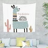 Alpaka Kaktus Wandteppich mit Spruch Wandbehang Tuch Wandtuch Tapestry Tapisserie Wanddeko für Schlafzimmer als Strandtuch Tischdecke Weiß 230x150cm