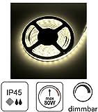 (9,98 €/m) 5m LED Stripe 12V dimmbar IP45 - für Aussenbereich Feuchtraum - 80W 6000lm - SMD 300 x 5630 60SMD/m - selbstklebend - warmweiß (3000 K)