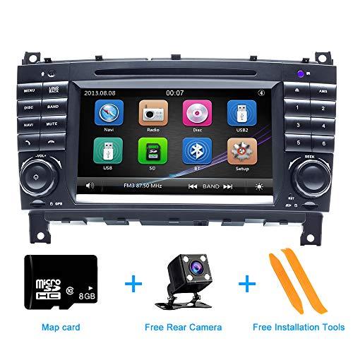 ZLTOOPAI für Mercedes Benz W209 W203 Sprinter Viano Vito VW Crafter Serie Doppel-Din-Head-Einheit 7-Zoll-kapazitiver Multi-Touchscreen-Autoradio GPS-Radio mit kostenloser Kartenkarte Rückfahrkamera