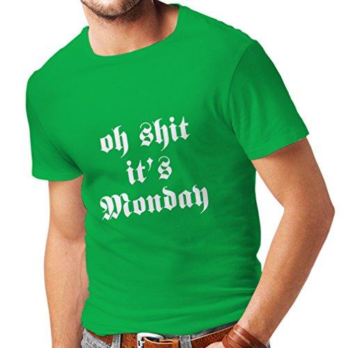 lepni.me Männer T-Shirt Oh Scheiße, es ist Montag - ich Hasse Montags (XXX-Large Grün Weiß) (Für Günstige Lehrer Halloween-geschenke)