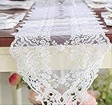 FHFF Tischläufer, Weiß, bestickt, Tee-Spitze, Tischdecke,