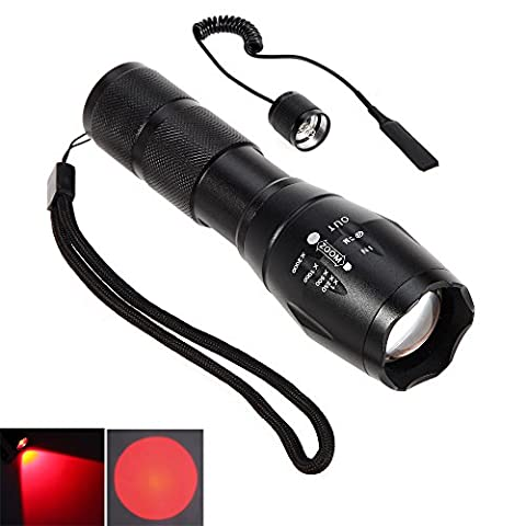CentBest LED Flashlight Red Beam Cree Zoom Adjustable Focus Torch for Hunting Tactical Hiking ( LED Searchlight + Remote Pressure Switch )
