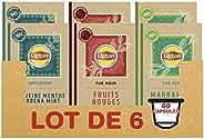 Lipton Assortiment de 3 Thés en Capsules Compatibles Nespresso : Thé Vert Marrakech Mint, Infusion Verveine Me