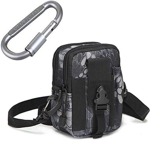 TOAOB Leicht klein Taktische Hüfttaschen Beintasche Mode Multifunktional Handytasche Gürteltasche Ideal für Outdoorsport Multifunktionen Praktische Ausrüstung mit Extrafreiem Aluminiumkarabiner Style 1