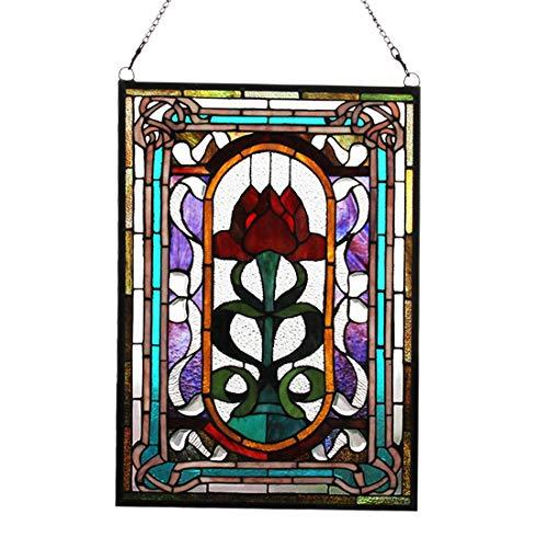 Gebeizt Art-glas-fenster (makenier Vintage Tiffany-Stil gebeizt Art Glas Deko Blumen Fenster Panel Wand-zum Aufhängen)