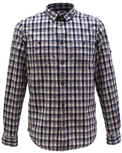 Tom Tailor camicia a maniche lunghe il tempo libero da uomo Ray Washed Indigo Check Shirt/603 Blau L