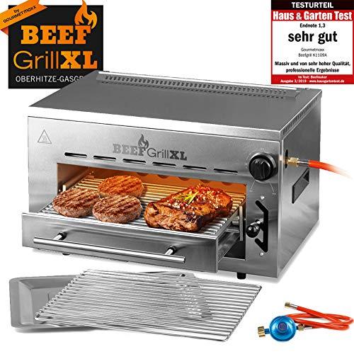 GOURMETmaxx Beef Maker XL | Oberhitze Gasgrill aus Edelstahl | 800° C | Hochleistungs Grill für Steaks wie vom Profi | Stufenlos regulierbarer Gas-Keramikbrenner | Piezozünder, 7 Höhenstufen