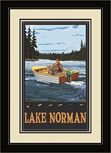 Northwest Art Mall fibf Lake Norman North Carolina Fisherman in Boot Forest gerahmtes Wandbild Art von Künstler Paul A. lanquist, 40,6x 55,9cm