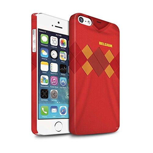 Stuff4® Matte Snap-On Hülle/Case für Apple iPhone 5/5S/Belgien/Belgisch Muster/Weltmeisterschaft 2018 Fußball Trikot Kollektion