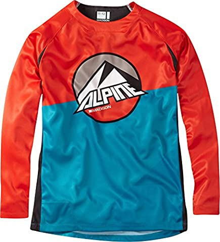 Madison Alpine Youth Long Sleeve Jersey - Red, Age 9-10 Cycling Cycle Bicycle Biking Bike MTB Mountain Trail Enduro Riding Ride Dirt Jump Clothing Clothes Apparel Gear Kit Wear Top Torso T Tee Shirt Upper Body LS Children Child Boy Girl Kid Junior