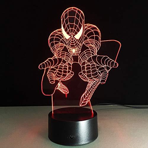 Migliori fan della luce del regalo capretti 3D Spiderman Notte Marvel Movie Superheros USB Colore changeing escursioni Decor Drop Sh